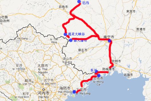 下龙湾地图; d21:南宁+越南-南宁