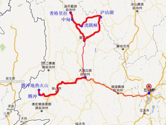 云南瑞丽旅游地图